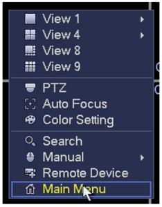 Basic Network Setup-click main menu